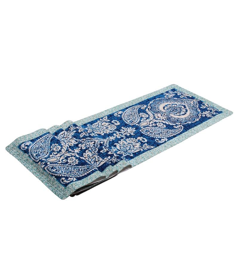 Vista Home Fashion Paisley Printed Blue Super Quality Cotton Table Runner