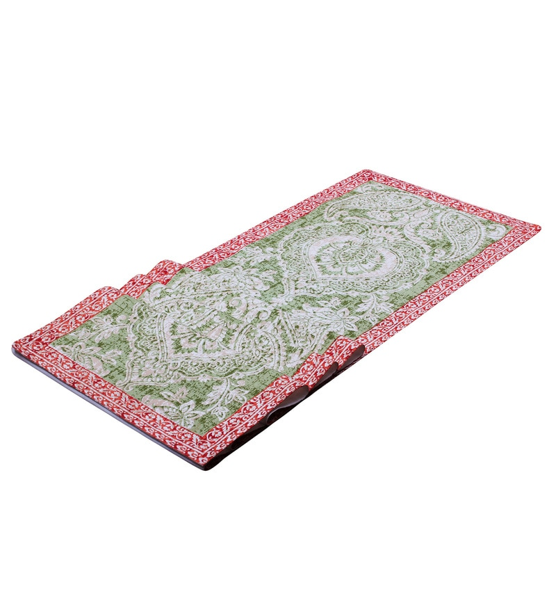 Vista Home Fashion Paisley Printed Green Super Quality Cotton Table Runner