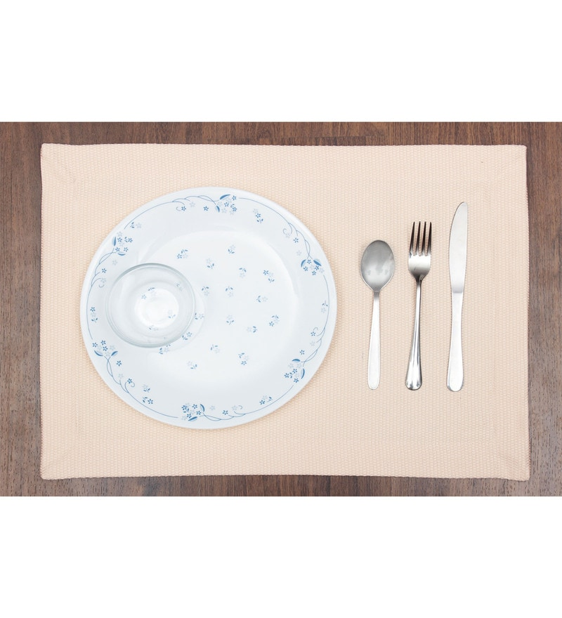 Vista Home Fashion Peach Cotton & Polyester Placemats