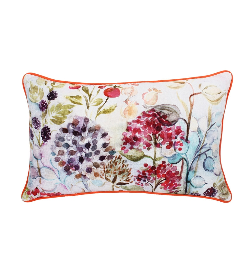 Vista Multicolour Cotton 14 x 22 Inch Floral Cushion Cover