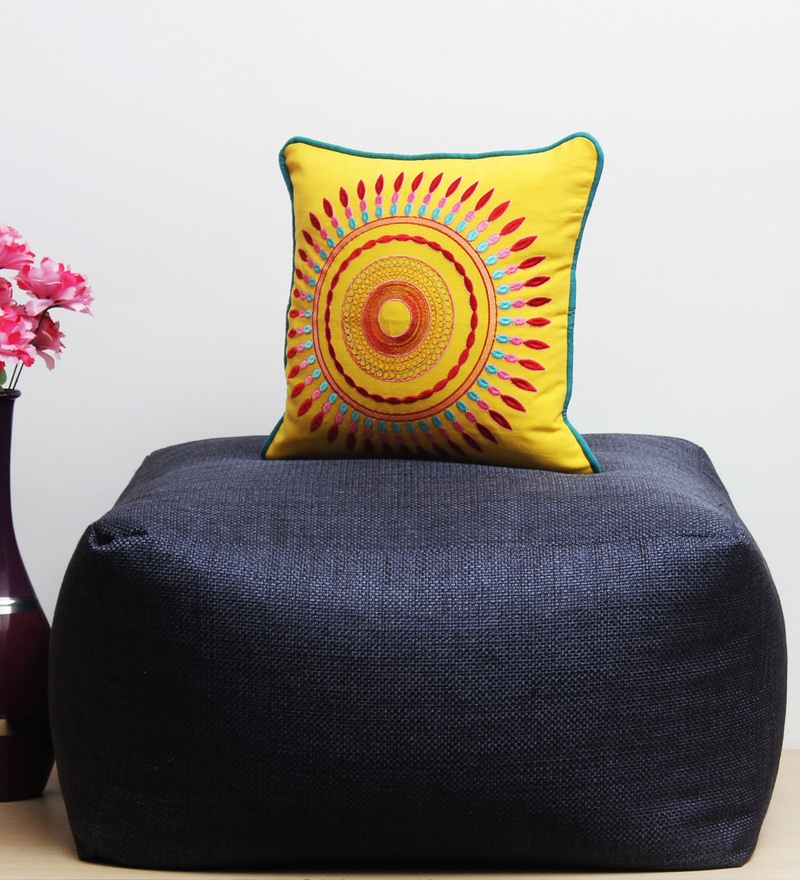 Yellow Cotton 16 x 16 Inch Cushion Cover by Vista