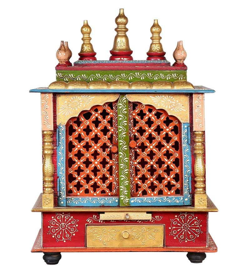 Multicolour MDF & Mango Wood Jodhpuri Handpainted Temple by Nandani Wood