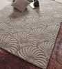 Beige & White Wool & Viscose 90 x 64 Inch Hand Tufted Carpet by Vikram Carpets