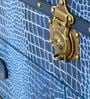 Vintage Streamer Trunk in Blue Genuine Leather by Studio Ochre
