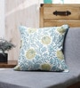 Vista Home Fashion Blue Cotton 18 x 18 Inch Embroidered Cushion Cover