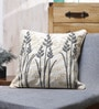 Grey Cotton 18 x 18 Inch Embroidered Cushion Cover by Vista Home Fashion