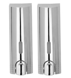 VML Silver Stainless Steel 500 ML Liquid Soap Dispensers - Set Of 2 - 1609022