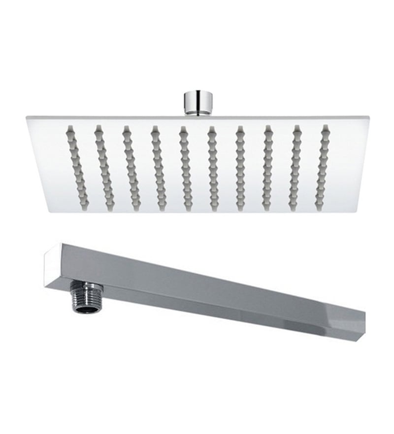 VML Ultra Slim Chrome Stainless Steel 8 Inch Overhead Shower with 9 Inch Arm