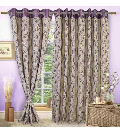 Buy Vorhang Purple Polyester 60 x 45 Inch Eyelet Window Curtain ...