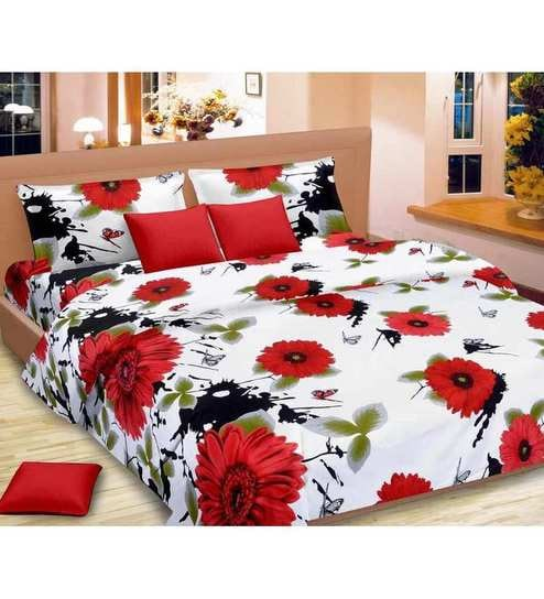 31b5ee708fc Vorhang Sunflower Print White   Red Cotton Double Bed Sheet (with Pillow  Covers)