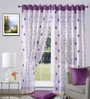 Blue Polyester Floral Window Curtain - Set of 2 by Vorhang