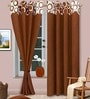 Brown Polyester Abstract Eyelet Door Curtain - Set of 2 by Vorhang