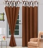Vorhang Brown Polyester Abstract Eyelet Door Curtain - Set of 2