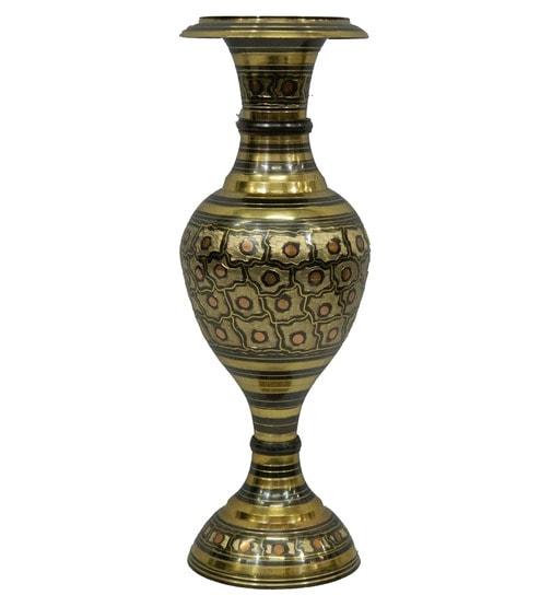 236 & Vyom Shop Black Brass Flower Vase