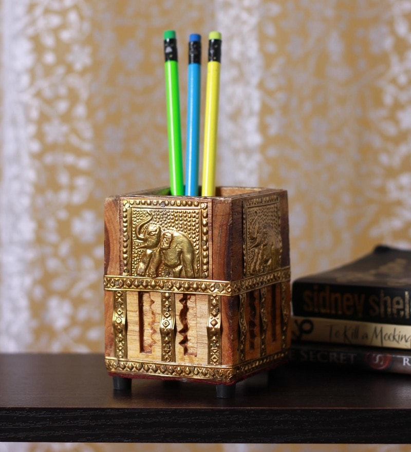 Brown Wood Pen Stand with Design Elephant by Vyomshop