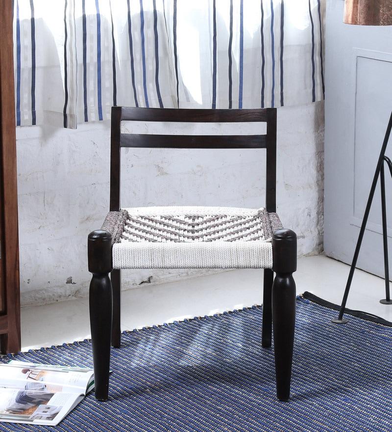 Vyuti Chair with Weaving Work in Warm Chestnut Finish by Mudramark