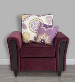 Washington One Seater Sofa with Throw Cushions in Grape Wine Colour