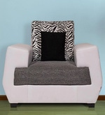 Wave One Seater Sofa in White & Grey Colour