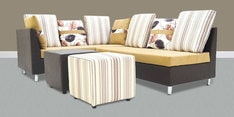 Walton LHS Corner Sofa Set with Two Ottomans in Brown Colour