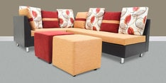 Walton LHS Corner Sofa Set with Two Ottomans in Rust Colour