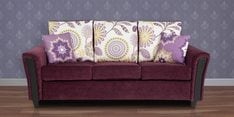 Washington Three Seater Sofa with Throw Cushions in Grape Wine Colour
