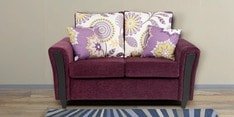 Washington Two Seater Sofa with Throw Cushions in Grape Wine Colour