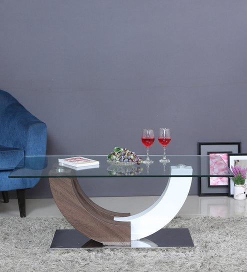 Buy Waco Class Duco Veneer Finish Center Table With Glass Top By