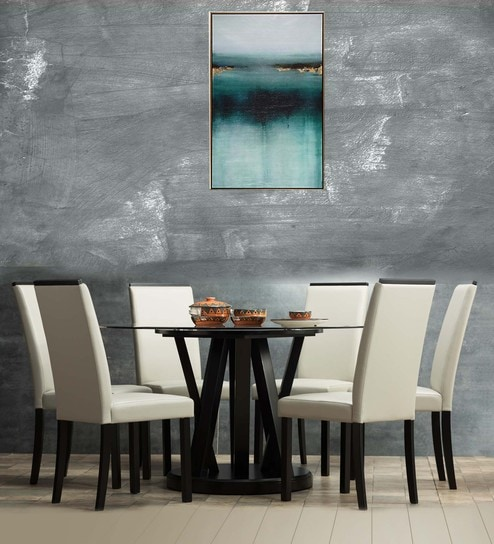 Buy Waldo Round Six Seater Dining Set With Glass Top By Durian