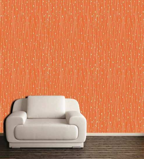 Wall Decor Orange And White Pvc Free Wallpaper