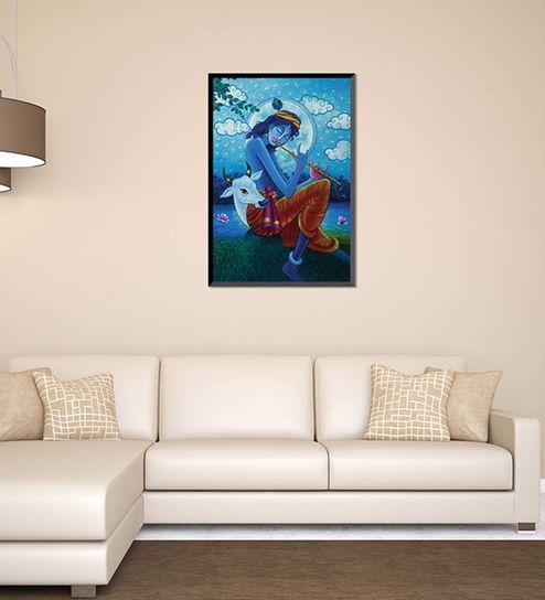 Buy Canvas 18 x 24 Inch Playful Krishna Framed Digital Art Print by ...