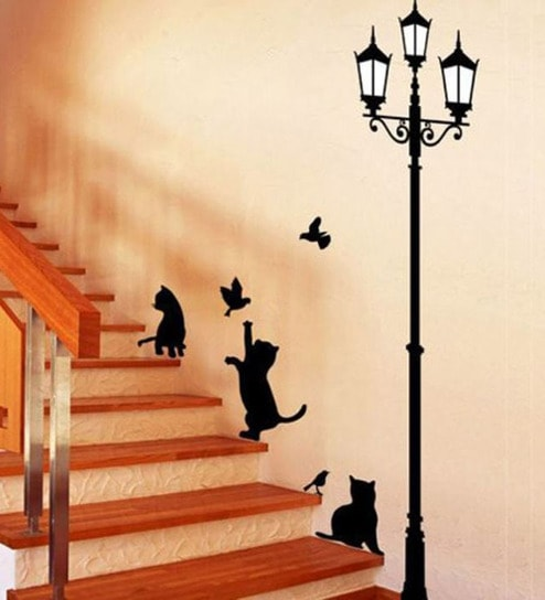 buy walltola pvc vinyl ancient lamp & cats wall sticker online