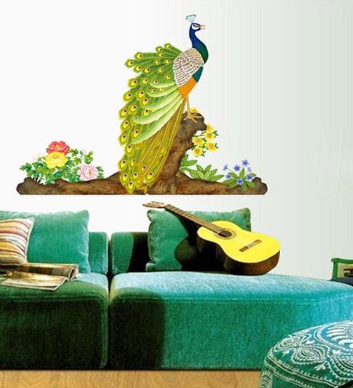 buy walltola pvc vinyl colorful decorative peacock wall sticker