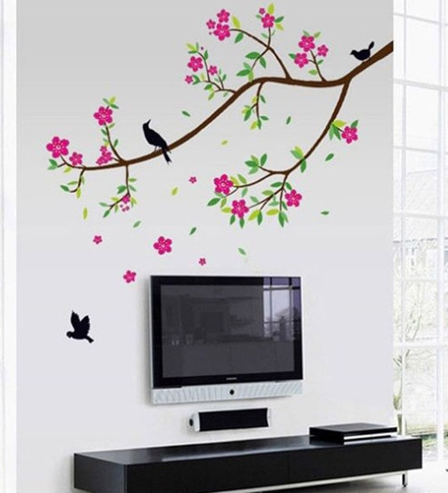 buy walltola pvc vinyl beautiful nature tree & flowers wall sticker