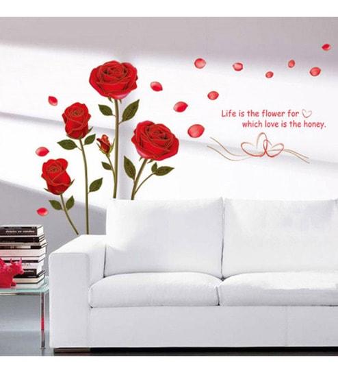 buy walltola pvc vinyl bedroom romantic rose flowers wall sticker