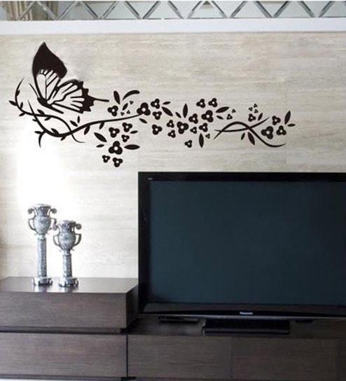 Pvc vinyl black butterfly with flowers 2701 wall sticker by walltola