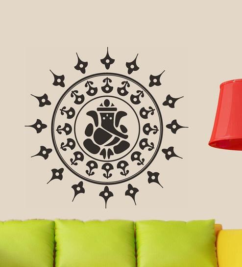 buy walltola pvc vinyl black ganesha wall sticker & decal online