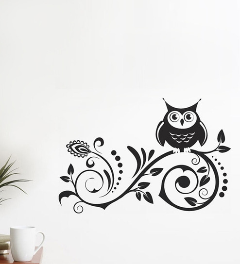 Buy WallTola PVC Vinyl Black Owl on Spiral Design Wall Sticker