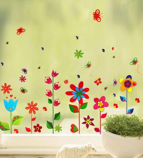 Buy WallTola PVC Vinyl Border Design Colorful Fun Flowers Wall