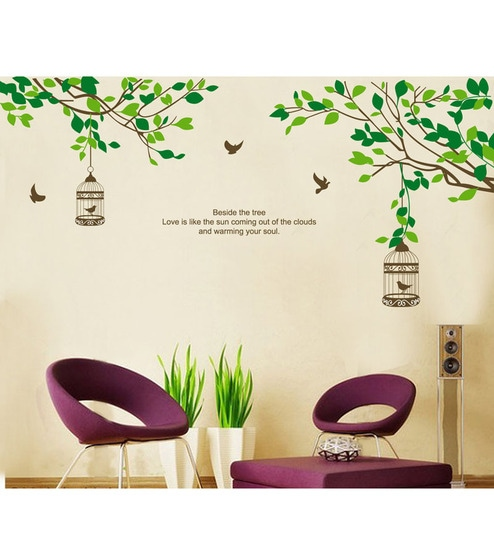 buy walltola pvc vinyl branches with leaves & birds cages wall
