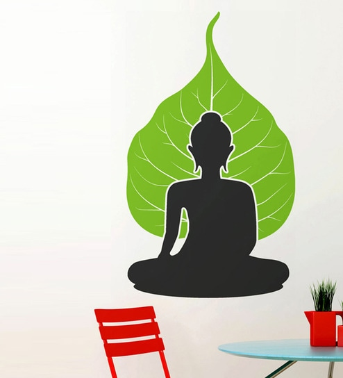 cfe7a47b6fb Buy PVC Vinyl Buddha with Leaf Background Wall Sticker by WallTola Online - Spiritual  Wall Stickers - Wall Stickers - Wall Art - Pepperfry Product