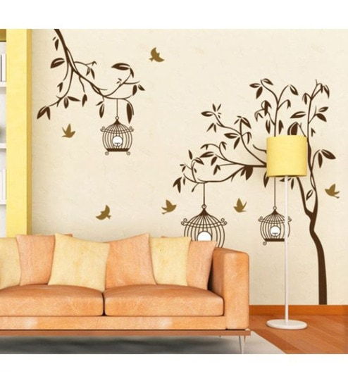 Buy WallTola PVC Vinyl Tree with Birds & Cages Wall Sticker Online - Florals - Wall Art - Pepperfry