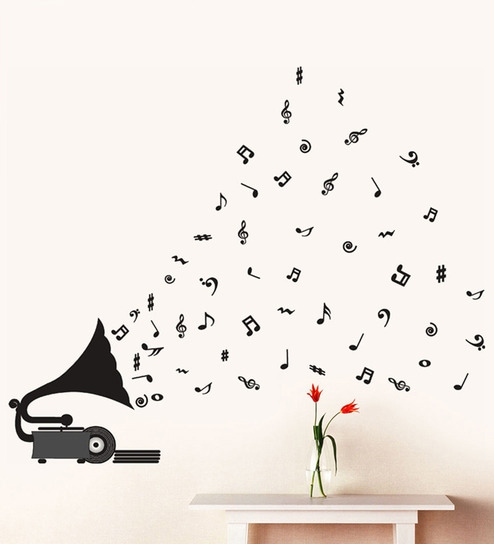 buy walltola pvc vinyl gramophone with musical notes wall sticker