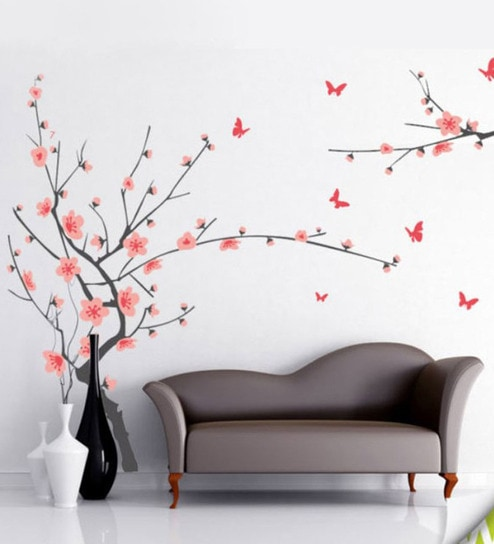 buy walltola pvc vinyl gray branch with pink flowers wall sticker