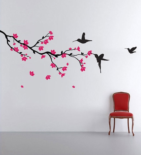 Buy Pvc Vinyl Hummingbirds Blossoms Wall Sticker By Walltola