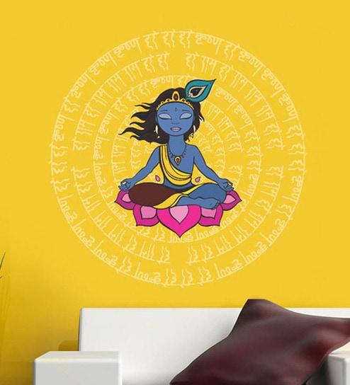 625d054f8 Buy PVC Vinyl Krishna with Mantras Wall Sticker by WallTola Online ...