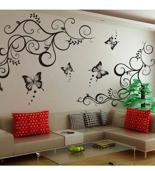 buy walltola lovely black butterflies living room pvc vinyl wall