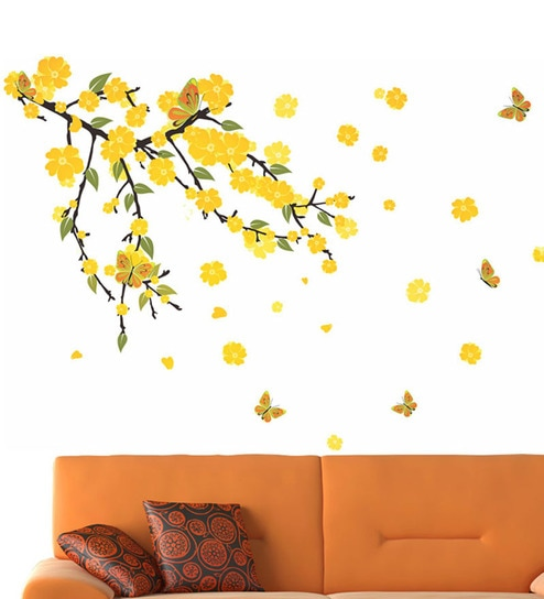 buy pvc vinyl mind blowing yellow flowers wall stickerwalltola