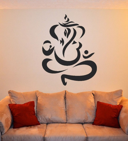 Pvc vinyl modern ganesh art wall sticker by walltola