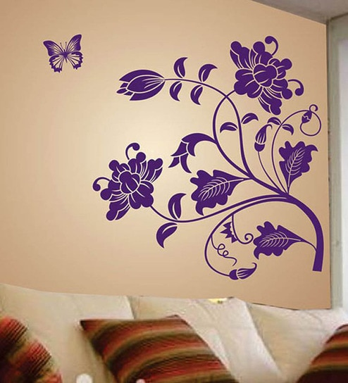 buy pvc vinyl purple vine with flowers wall stickerwalltola