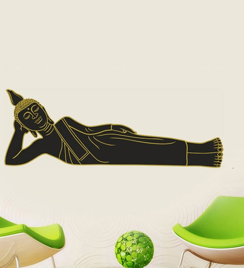 buy walltola sleeping buddha in black pvc vinyl wall sticker & decal